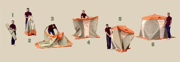 Установка палатки Нельма Куб-1
