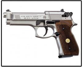 Пистолет пневматический Beretta 92FS (никель+дерево)