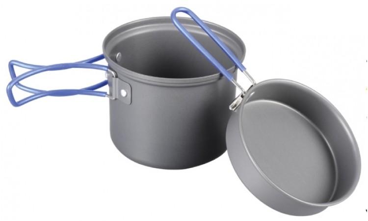 Котелок с крышкой-сковородой из анодированного алюминия